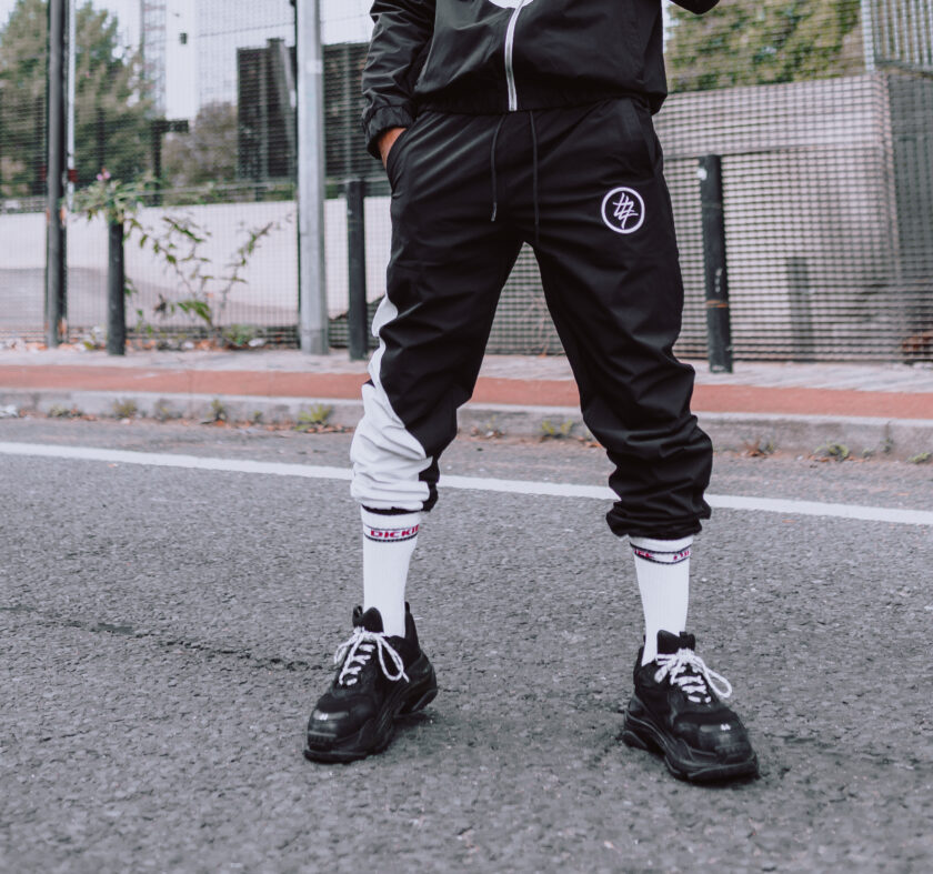 474 white and black tracksuit bottom