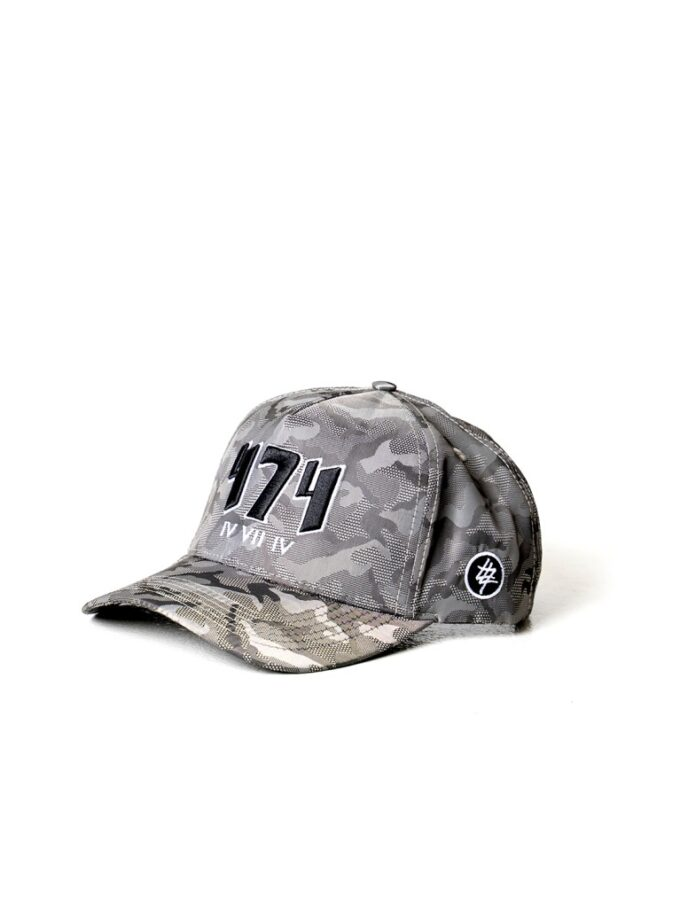 Grey Camo 474 Embroidered Baseball Cap