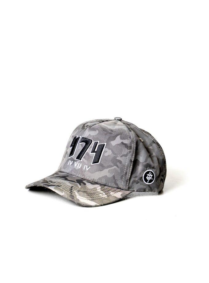 Grey Camo 474 Embroidered Baseball Cap