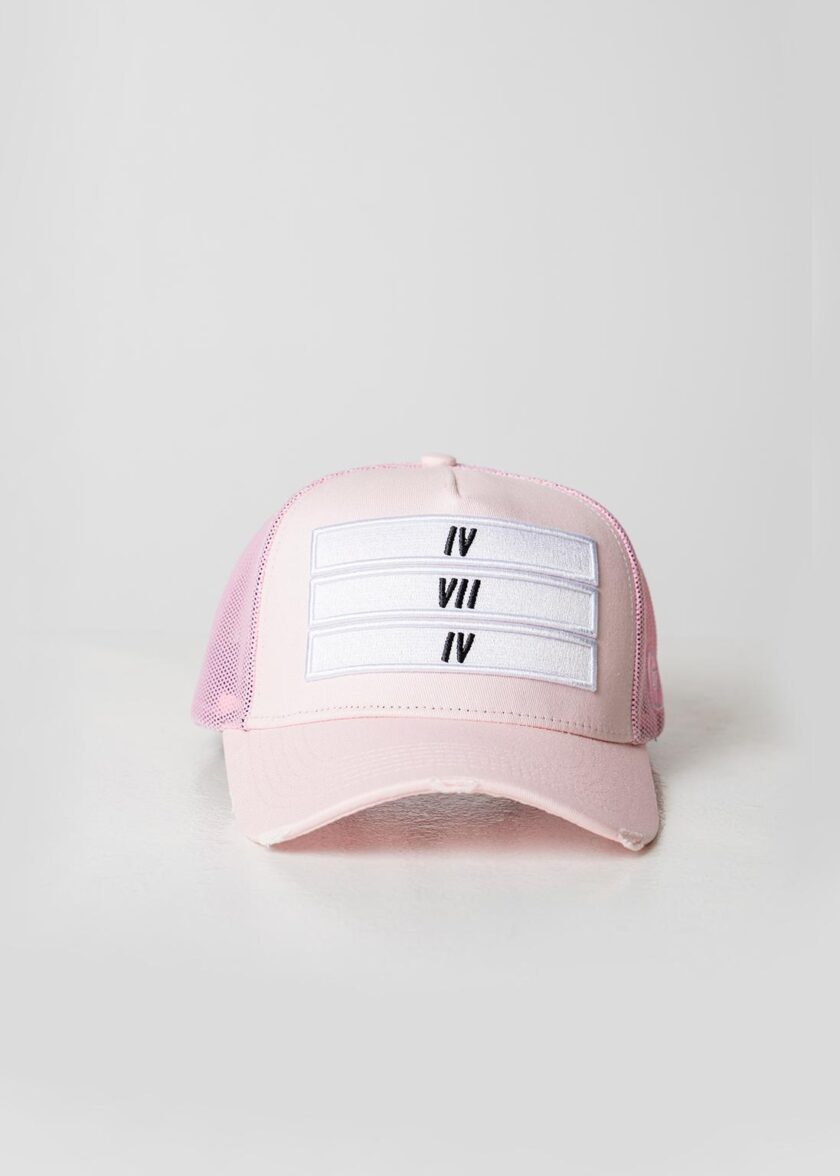 Pink Distressed Mesh Trucker